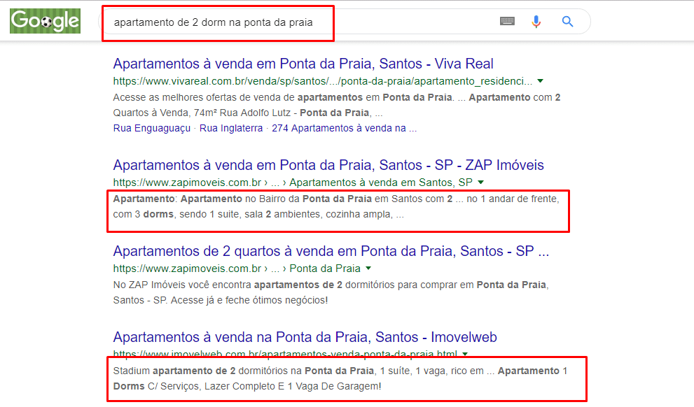 """Tela de pesquisa do Google com os resultados para a pesquisa de """"Apartamento de 2 dorms na Ponta da Praia"""". O segundo resultado do buscador está com a descrição do anúncio destacada. Perfeito para entender como se deve fazer um anúncio de imóveis chamativo."""
