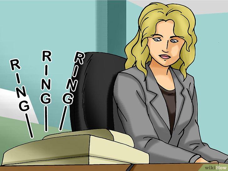 Desenho mostra uma mulher, indecisa sobre atender ao telefone que está tocando e não saber o que falar para oferta ativa de imóveis