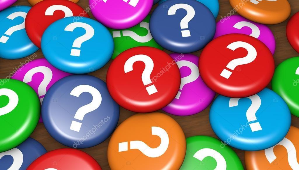 Diversos botons com pontos de interrogação coloridos para lembrar o corretor de imóveis de fazer as perguntas certas quando fizer oferta ativa de imóveis