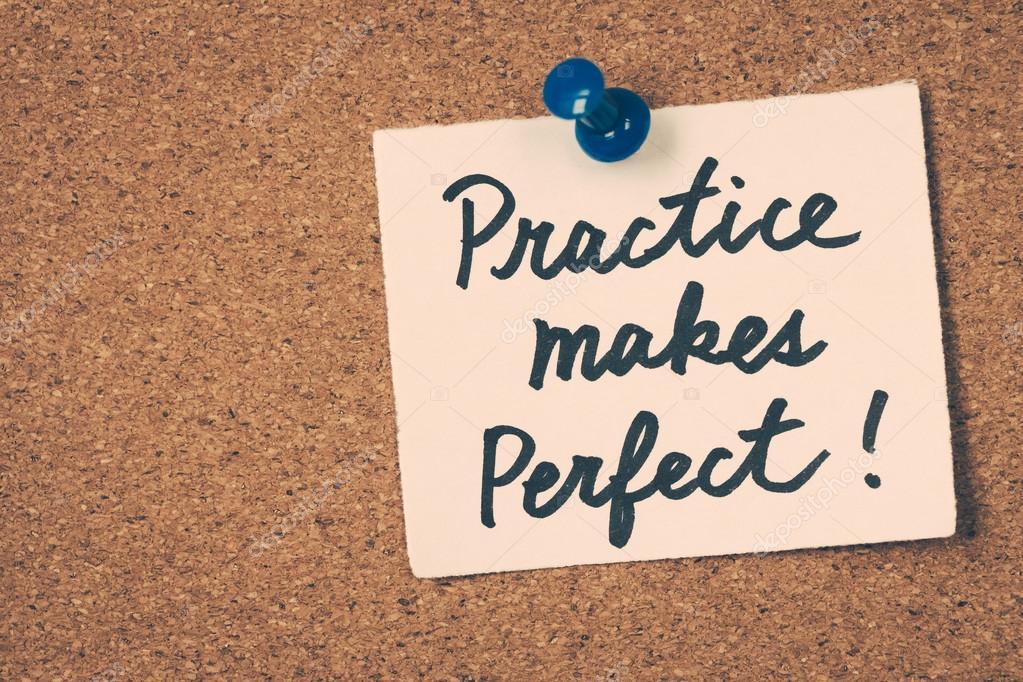 """texto em ingles escrito """"practice makes perfect"""" indica que a prática leva a perfeição."""