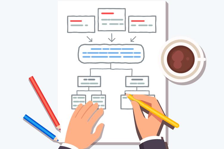 administrador de imóveis montando um organograma para fazer administração de imóveis.