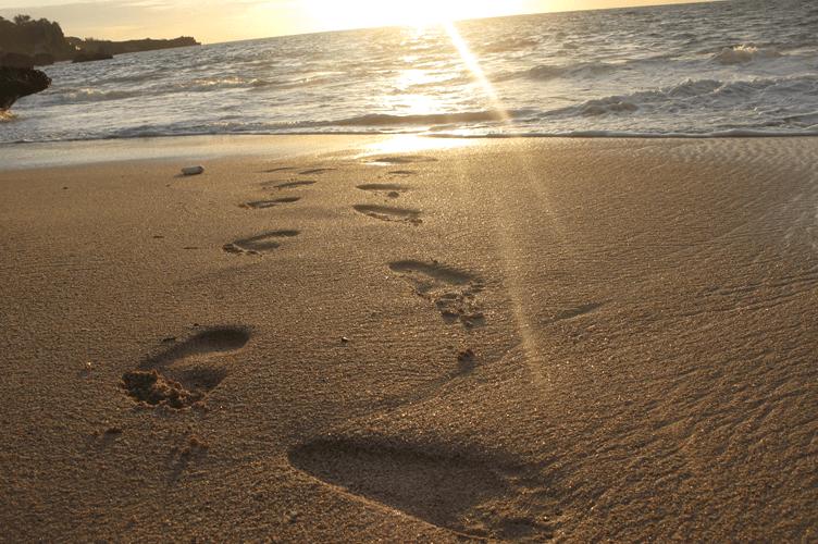 Administrador de Imóveis- O passo a passo para o sucesso. Pegadas na areia da praia no pôr do Sol.