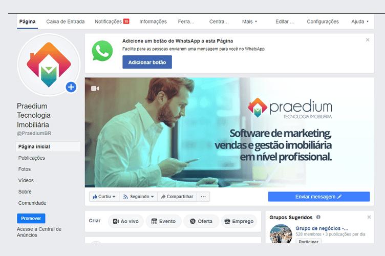 Exemplo da Página Empresa no Facebook da Praedium