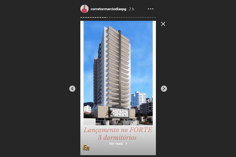 Exemplo de Anúncio de Imóveis no Instagram Stories