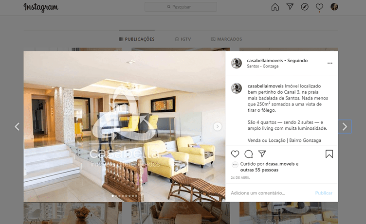 Exemplo de Anúncio de Imóveis no Instagram
