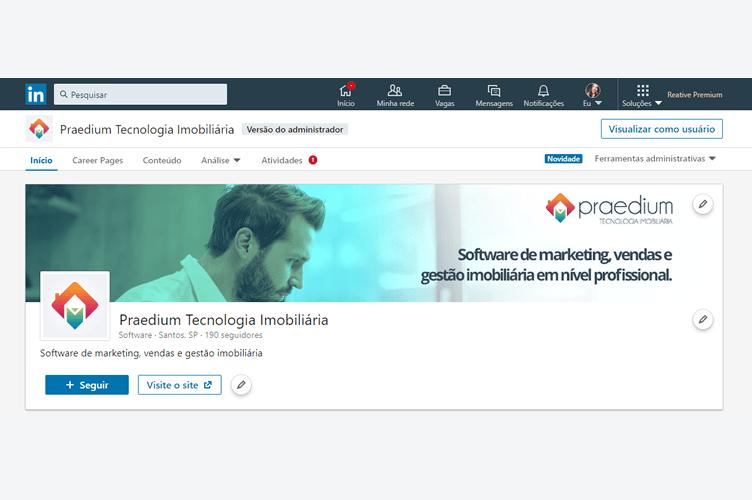 Perfil Campeão no Linkedin - Página Empresa