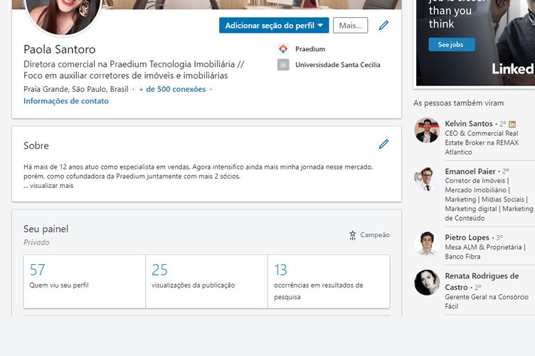 Perfil Campeão no Linkedin - Página Pessoal