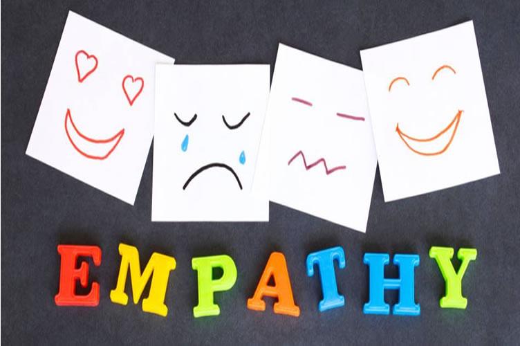 Quadro negro ao fundo, com folhas brancas e desenhos nela com algumas emoções (feliz, triste, zangado). Abaixo escrita a palavra empathy (empatia do inglês).