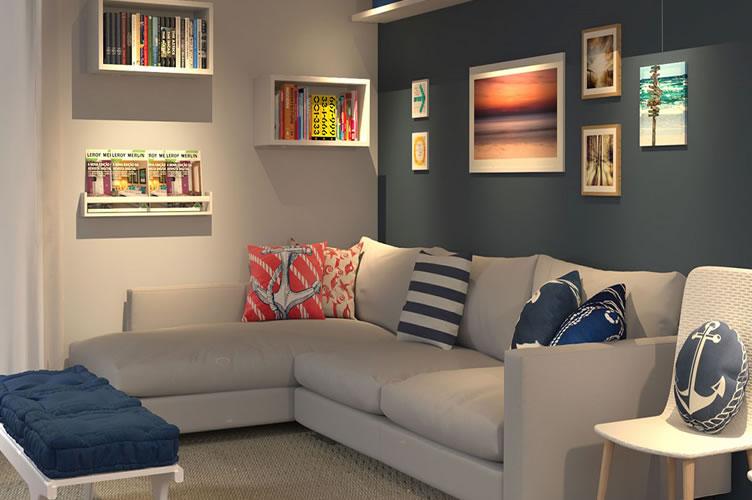 Uma sala de estar super estilosa com uma parede atrás do sofá em cor diferente e todas as cores combinando.
