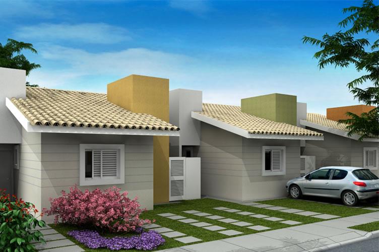 fachada de casas populares bem feitas e atrativas para apresentação do imóvel.