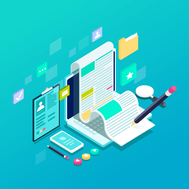 o conceito para a criação e conteúdo no blog da imobiliária para aumentar o tráfego do site. Um notebook com um tablet ao lado e um celular mais em baixo. Na tela do notebook tem uma folha saindo com um lapis escrevendo o conteúdo.