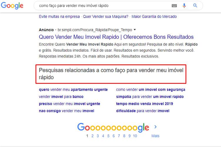 Print da tela do Google com ênfase em pesquisas relacionadas. Para criar um blog imobiliário com conteúdo relevante.