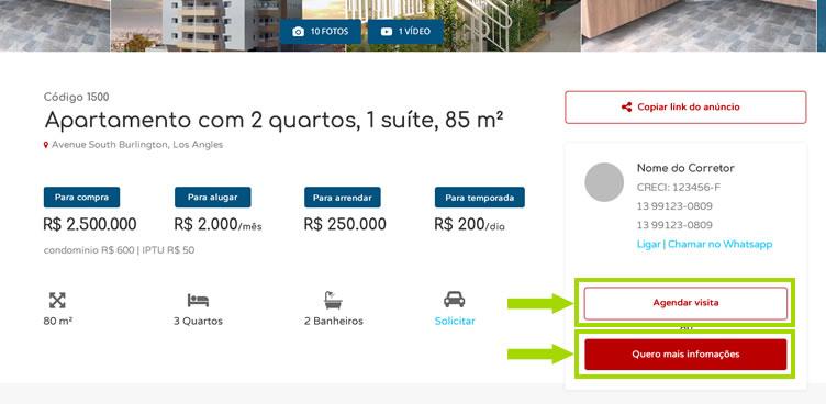 Exemplo de botões call to action em um site imobiliário. O botão em vermelho indica ao usuário para solicitar mais informações. Já o botão branco no site, indica ao usuário para agendar uma visita ao imóvel.