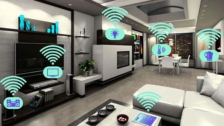 O conceito de casa inteligente com uma sala inteiramente conctada.