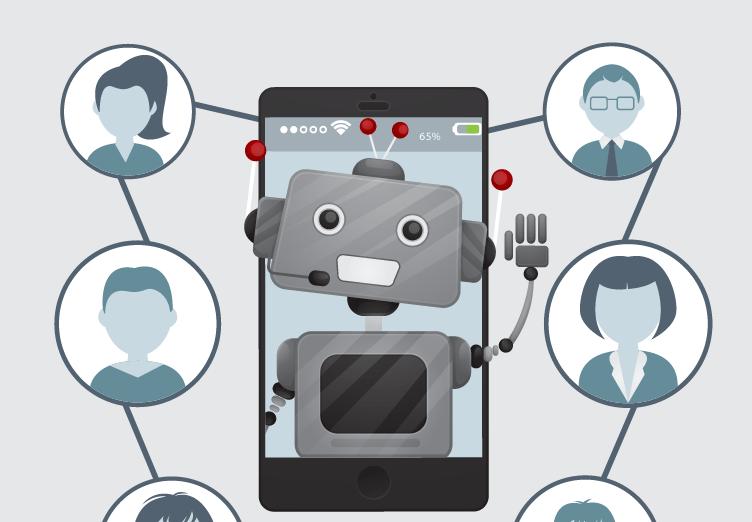 Conceito de chatbot para imobiliárias. 1 robô atendendo várias pessoas.