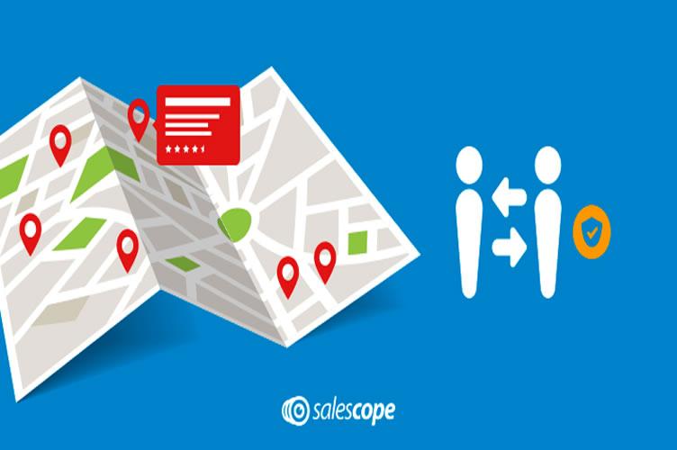 fundo azul com um mapa e ícones em vermelho. Mapeamento da região para gerenciar uma imobiliária.