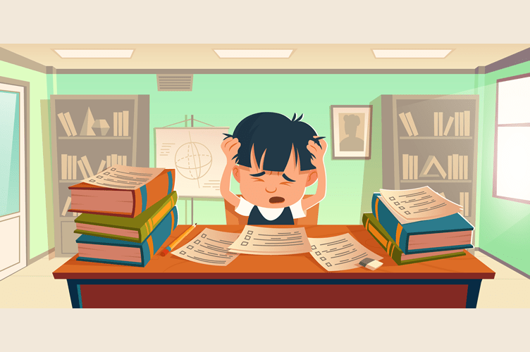 como se destacar no mercado imobiliário utilizando técnicas de vendas de imóveis. Menino sentado de frente para uma mesa na sala de aula com as mãos na cabeça, folhas a sua frente e livros ao seu lado.