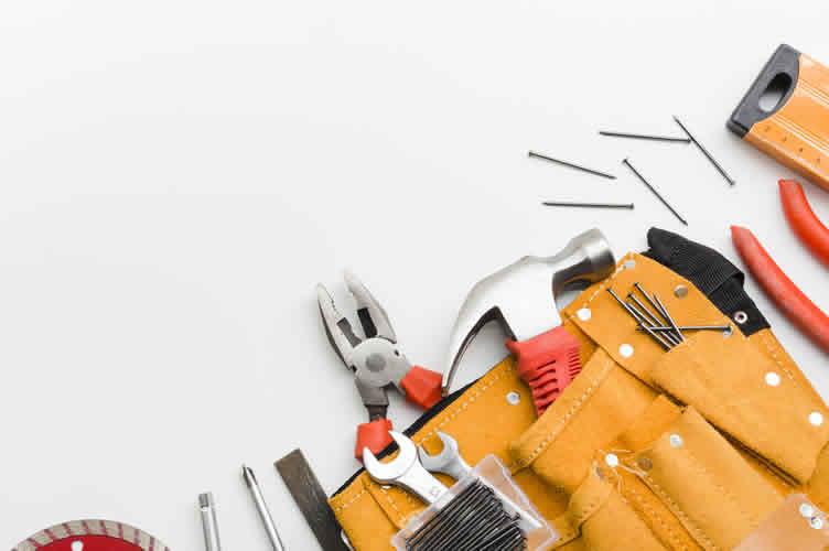 Conjunto de ferramentas, para simbolizar o uso de ferramentas pelo corretor de imóveis otimizar seu tenmpo