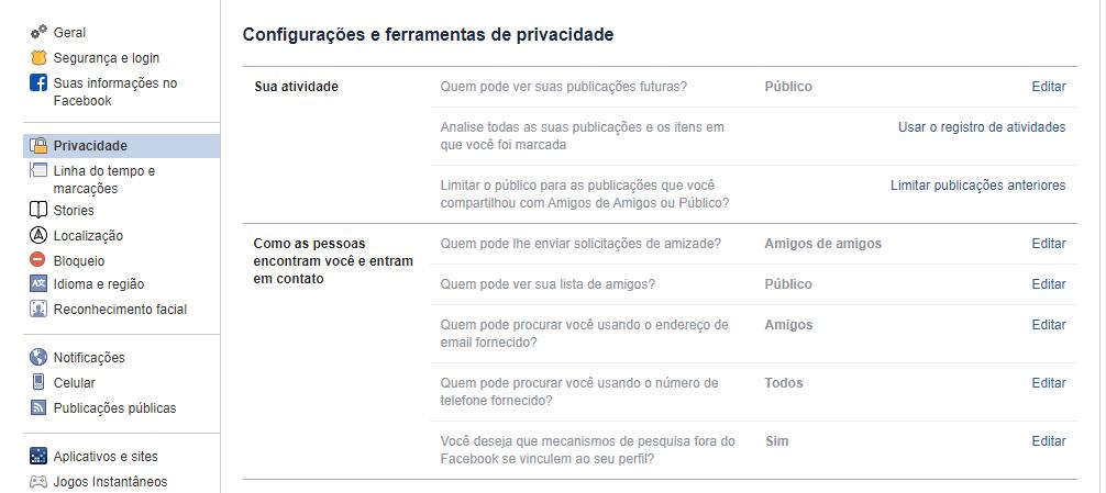 Configurações de privacidade
