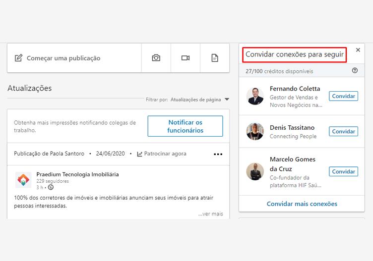 Convidar conexões para o Linkedin