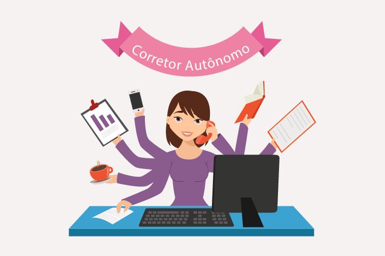 Corretor autônomo feminino cuidando de vários documentos.