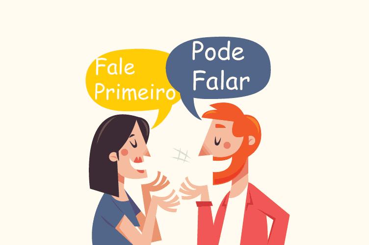 O corretor e o cliente com balões de conversa dizendo para um falar e o outro para ele falar. Corretores de sucesso deixam o cliente falar.