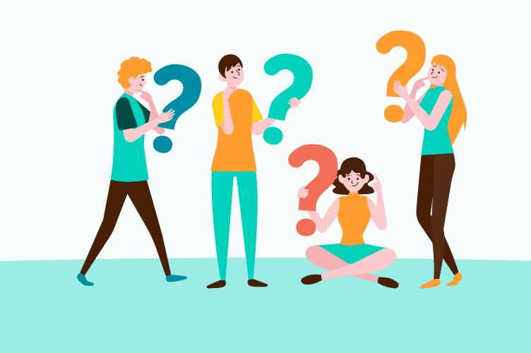 4 corretores de imóveis segurando pontos de interrogação. Sobre fazer as perguntas certas para o cliente e ter sucesso.