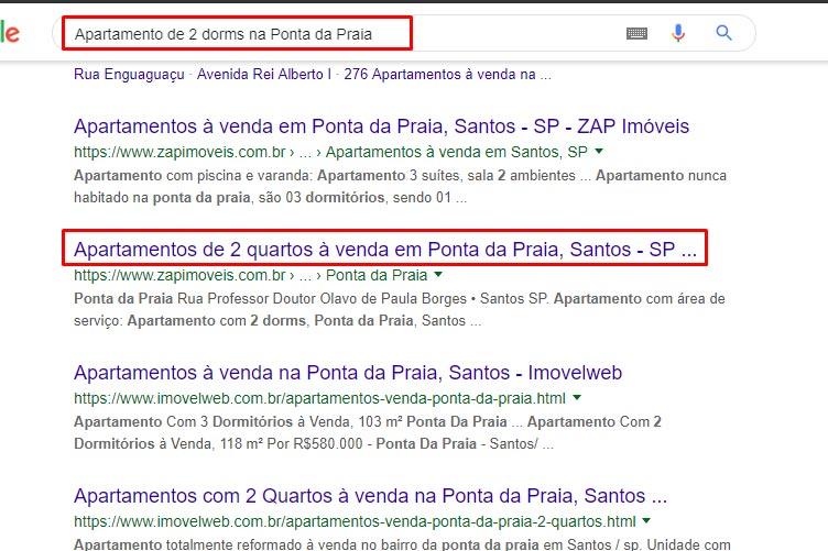 """Tela de pesquisa do Google com os resultados para a pesquisa de """"Apartamento de 2 dorms na Ponta da Praia"""". O segundo resultado do buscador está selecionado o título. Perfeito sobre como fazer um anúncio de imóveis chamativo."""