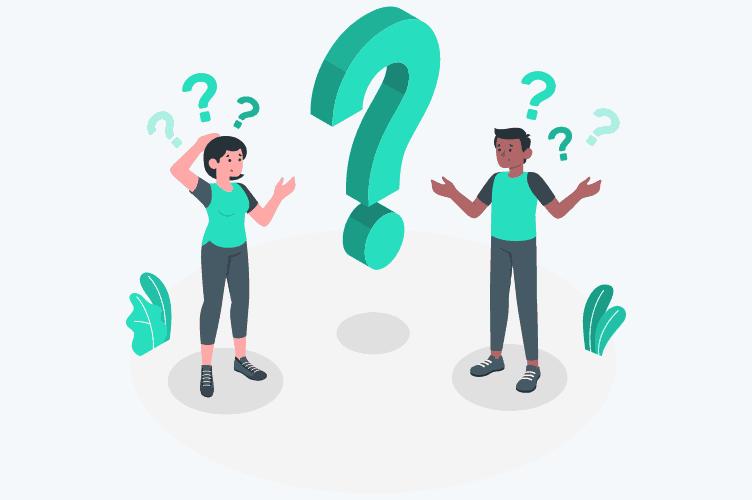 dois proprietários de imóveis com dúvidas antes de vender um imóvel. Vários pontos de interrogação em cima deles.