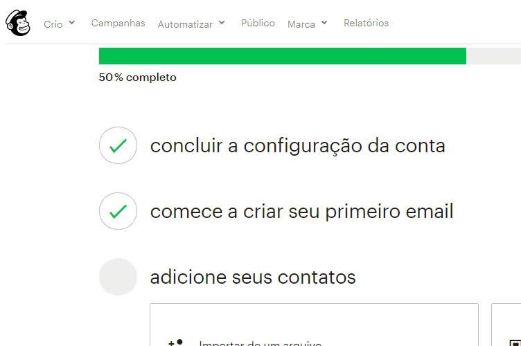 Imagem da tela de configuração de e-mail do Mailchimp para atrair visitante para um plantão de vendas