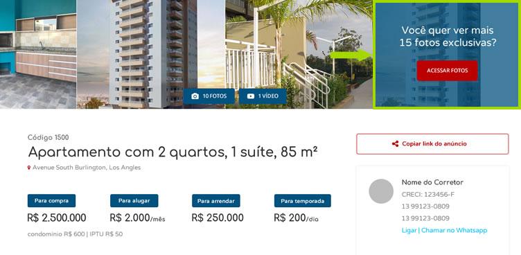 Botão para captar leads através do desbloqueio de fotos no site da imobiliária.