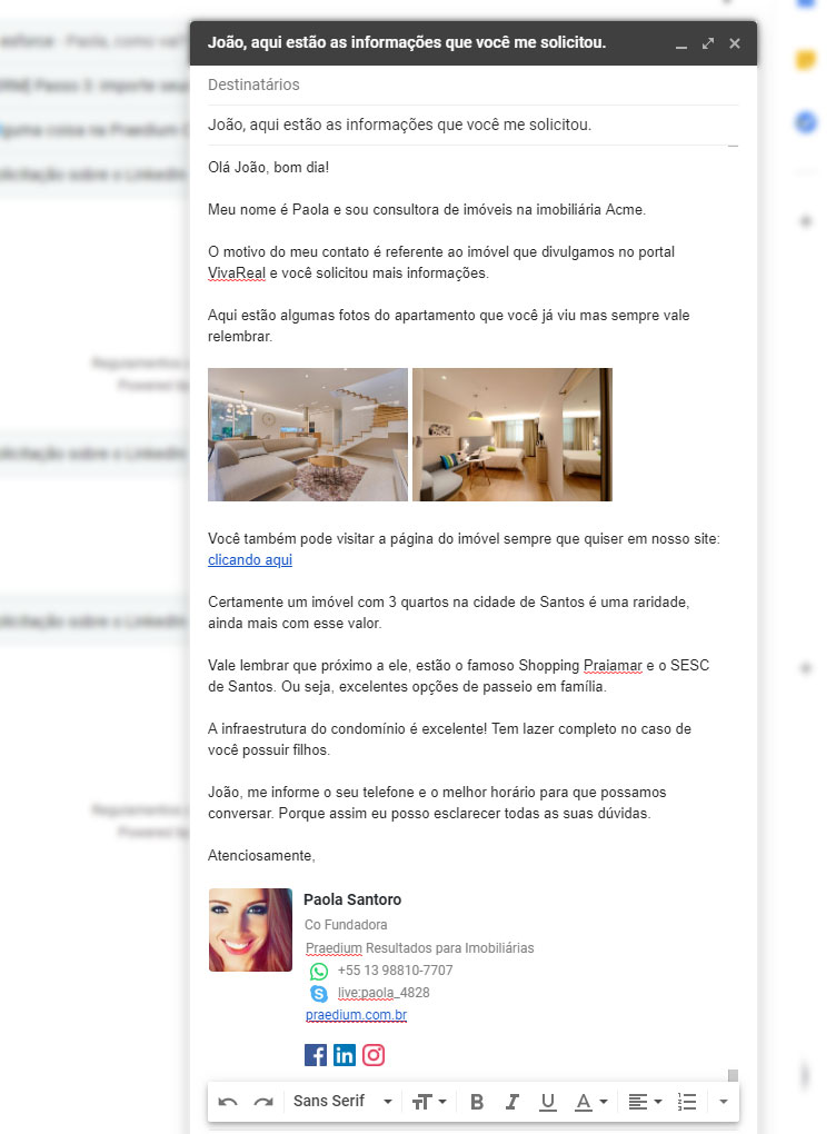 Exemplo de email