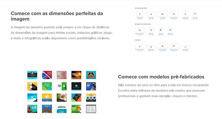 Snappa na versão gratuita como ferramenta para o corretor usar na criação de gráficos.