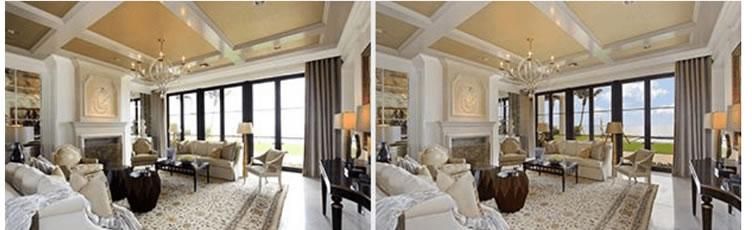 Duas imagens como exemplo de fotografia imobiliária mostrando a vista da janela.