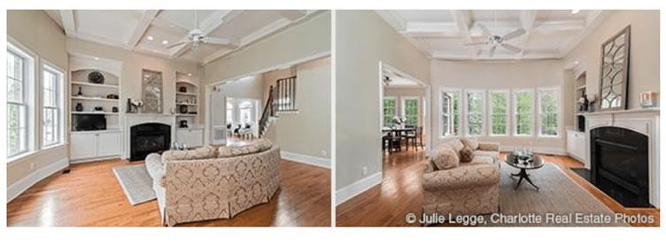 Novamente duas fotos de certo e errado mostrando a diferença em uma sala de acordo com o local que se tira a foto.