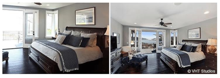 O exemplo idêntico ao anterior porém a imagem mostra duas fotos de um quarto de casal. Para seguir a regra das 3 paredes. Mostra na imagem correta a cama, ventilador, varanda, televisão e cabeçeira.