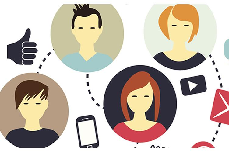 em forma de desenho, simbolizando os influenciadores digitais.