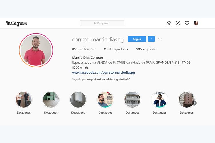 Instagram para corretor de imóveis exemplo de conta