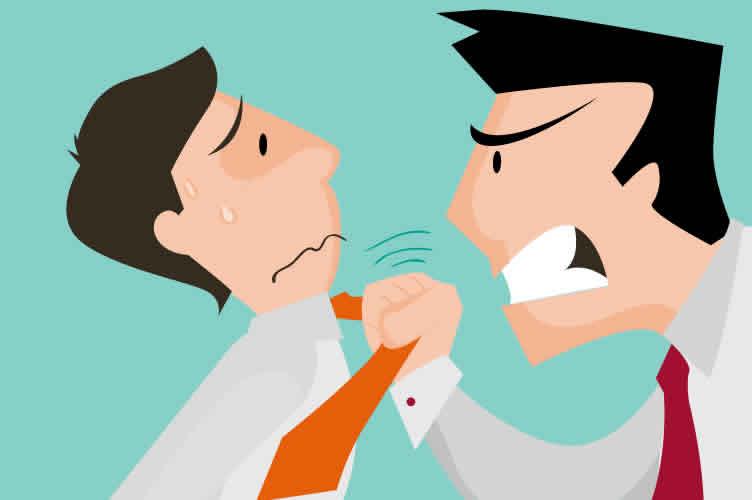 corretor sendo amedrontado elo marketing agressivo (em forma de homem bravo)