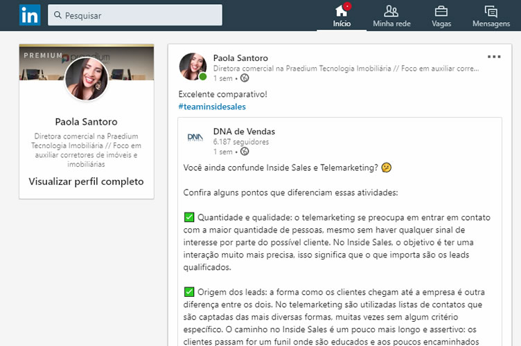 Print da página do Linkedin da redatora onde ela exemplifica uma boa forma de fazer marketing imobiliário no Linkedin. Compartilhando artigos relevantes de outras empresas.