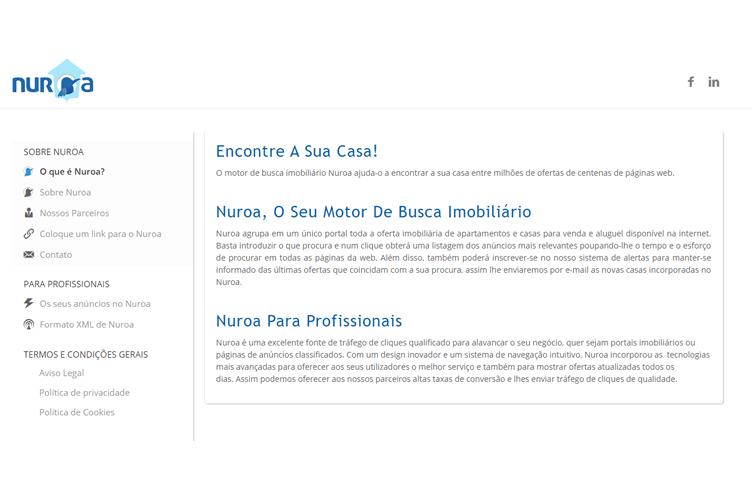 Página Inicial do Nuroa. Para corretores conseguir anunciar seus imóveis grátis na internet.