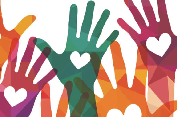 símbolo da ação social: Mãos coloridas no fundo branco. Montar uma imobiliária com mentalidade social