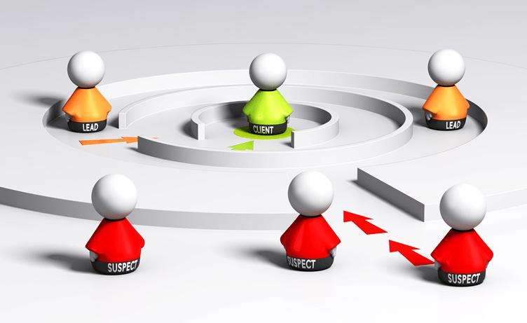 ciclo de nutrição de leads imobiliários. Do prospect até o cliente. Desenhado por um labirinto e bonecos com cores diferentes em diferentes etapas