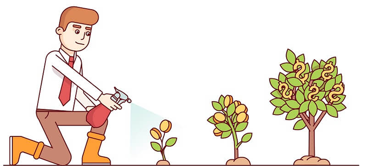 Corretor de imóveis regando um planta, que aos poucos cresce e os frutos estão representados por $. A nutrição de leads no mercado imobiliário age da mesma forma.