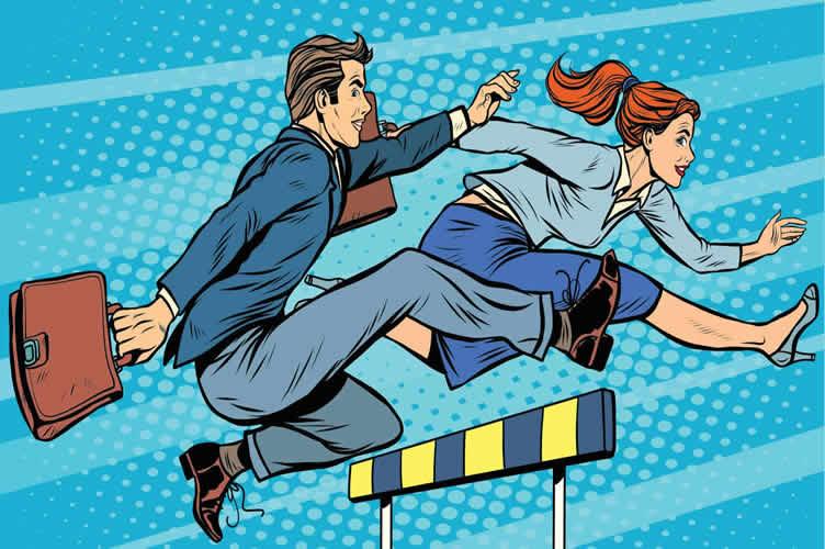Imagem em animação. Mostra um homem e uma mulher, ambos executivos em uma corrida de obstáculos.