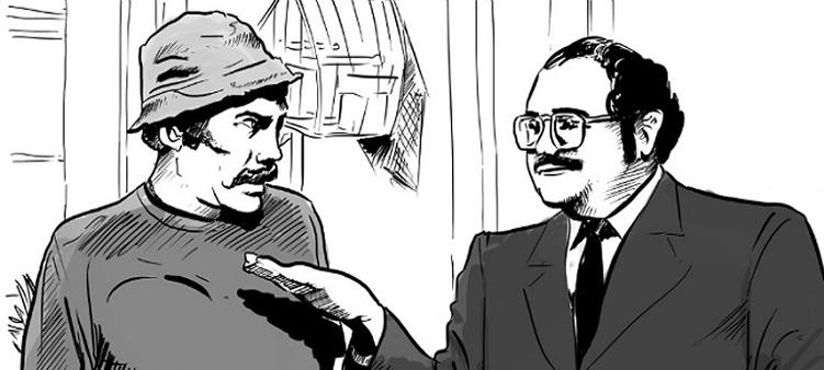 Sr. barriga do programa chaves, cobrando o aluguel do Sr. Madruga para executar uma ordem de despejo.