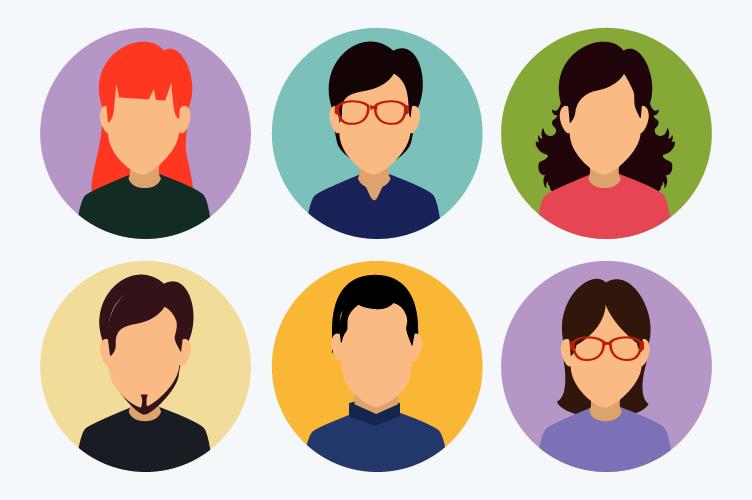 Perfil do corretor de imóveis. Vários ícones com diferentes rostos coloridos para cada perfil.