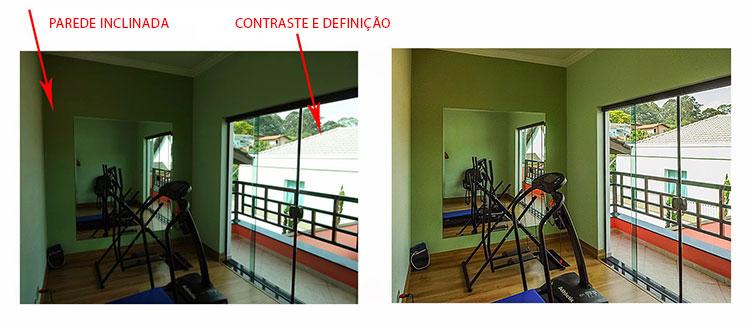Duas imagens demonstram uma foto bem tirado e outra nem tanto. A primeira a esquerda apresenta erros de enquadramento, definição e contraste. A direita a mesma imagem com os erros corrigidos. A foto contém uma sala de paredes verdes com espelho. É possível ver equipamentos de musculação na sala e a direita uma pequena varanda.