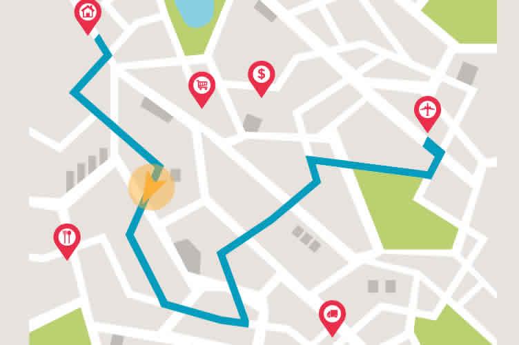 Mapa, indicando um roteiro para ofertar imóveis por telefone.