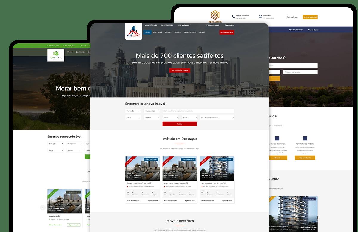 Exemplos de telas do software de CRM para imobiliárias com múltiplas formas de visualização